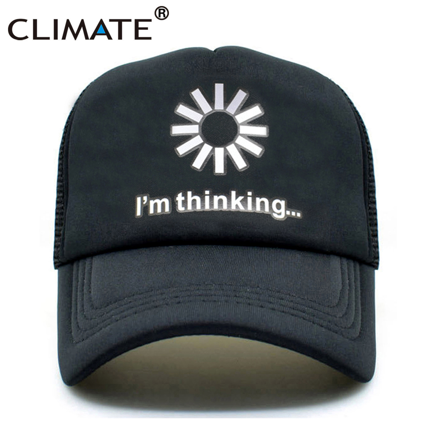 CLIMATE Men Women Trucker Cap Funny I am Thinking Loading  Caps Cool Black Summer Funny Mesh Net Trucker Caps Hat For Men Women