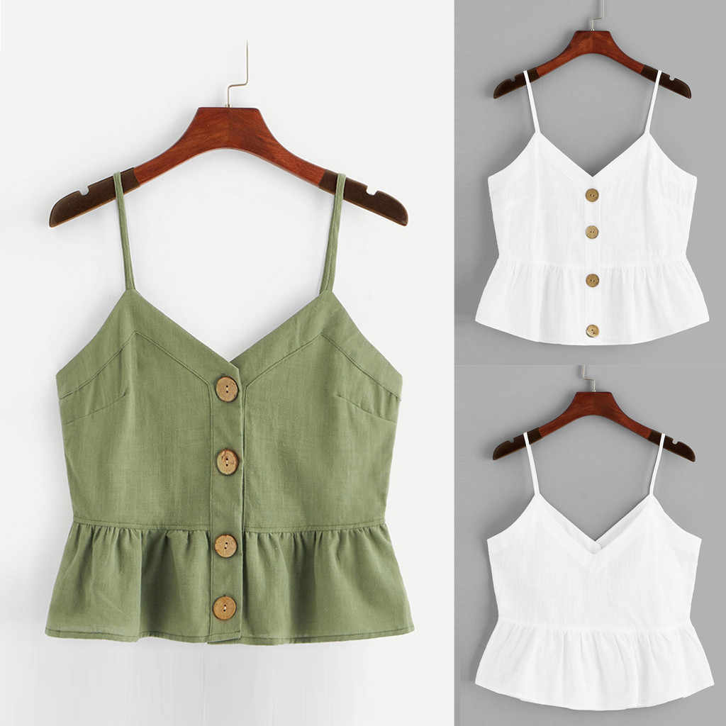 Women's fashion sleeveless slings female summer casual solid buttons front knot hem Kami vest ladies large size loose shirt