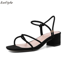 ESRFIYFE/новые женские босоножки на низком каблуке, босоножки из замши с открытым носком и ремешком на щиколотке, босоножки на квадратном каблуке, Mujer