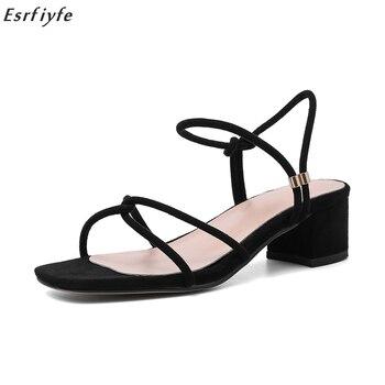 ESRFIYFE nuevas sandalias femeninas Sandalias de tacón bajo de ante abierto áspero con correa de tobillo Sandalias de tacón cuadrado Mujer