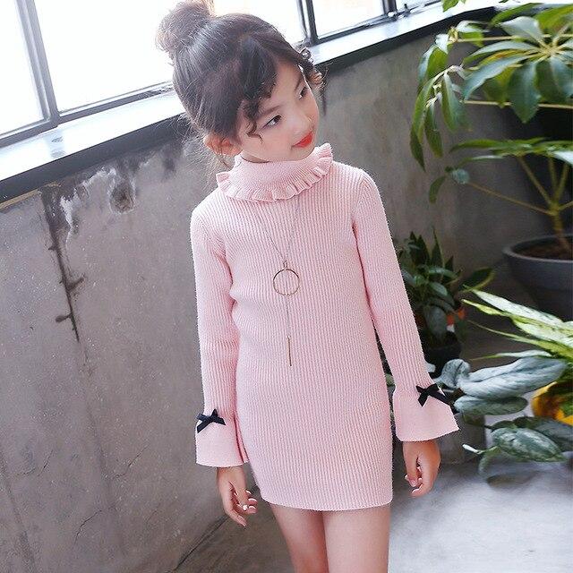 8c172707ed5 Girls Knitting Dress Kids Clothes Long Turtleneck Sweaters Red Black White  Pink Autumn Winter Kids Sweater