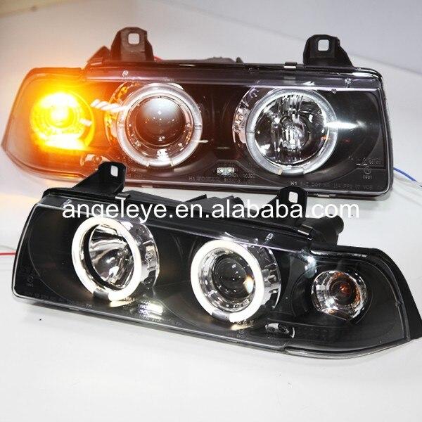1991-1997 year For BMW for E36 LED Angel Eyes Head Lamp Black housing SN