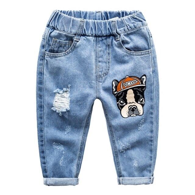 2017 Muchachas de Los Muchachos Pantalones Pull-en Patchwork Denim Corredores Catoon Perro Pantalones Vaqueros Rasgados Pantalones Vaqueros Aptos Para Bebé Primavera Pantalones Vaqueros chicos