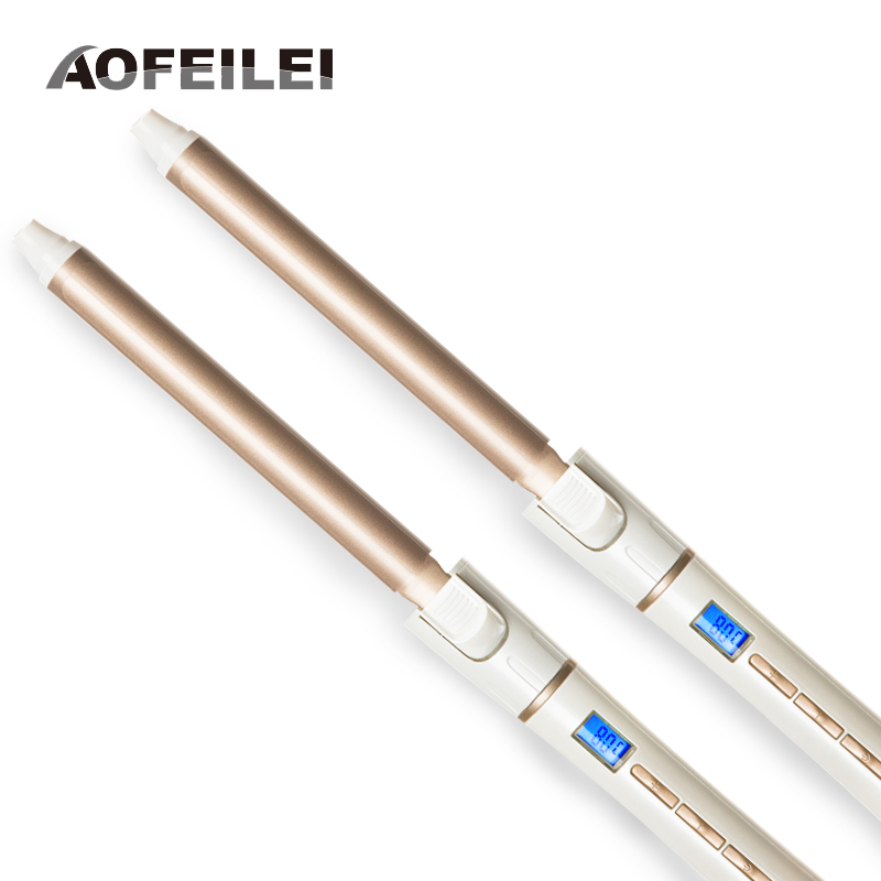 Two pieces of Ceramic Electric Hair Waves Curling Iron Digital Professional Hair Curler Roller Wand Styler Styling Tools 2017 new rushed professional hair curling iron ceramic electric curler waver curlers rollers wand aofeilei styler styling tools