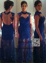 Elegant Blue font b Dresses b font for Proms Long Applique Lace Sleeveless See Through High