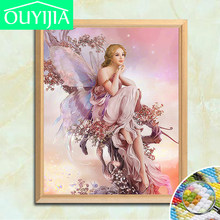 OUYIJIA Diamonds full square DIY Cross-stitch Kit New 5D Stickers Embroidered Diamond inlay Beauty Home Decorative painting(China)
