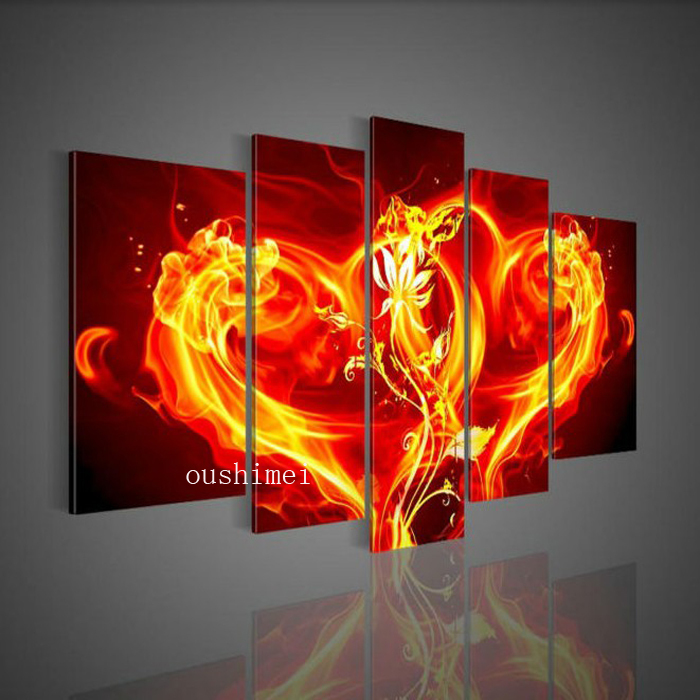 handpainted 5 piece red flame modern abstract love model picture oil