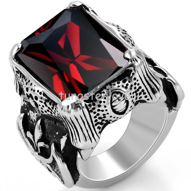 Vintage Style Stainless Steel Red Cz Rings Dragon Claw Biker Men Engagement Rings, Black Silver Red Color