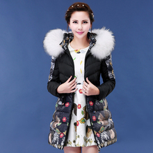 Raccoon Fur Collar Hooded Parka Nice New Fashion Europe Style Long Women's Winter Jacket Thick Warm Outwear Coat 2 Color AW1125