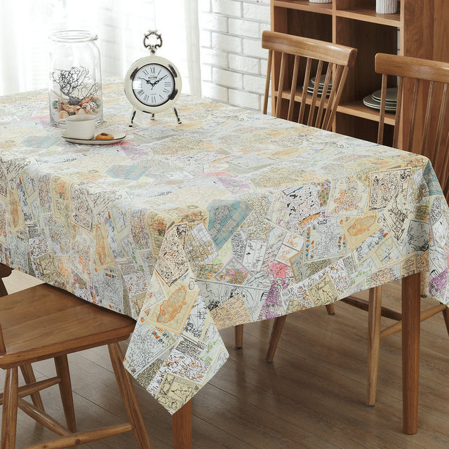 New Linen Table Cloth Map Sching Pattern Tablecloth Tv Cabinet Coffee Home Textile Tablecloths