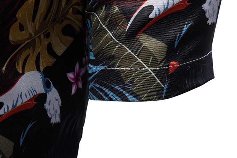 Летние модные пляжные Мужская гавайская рубашка Новинка 2019 года короткий рукав и пуговицы подпушка тропический Aloha рубашка для отдыха и вечеринок Camisa Гавайская