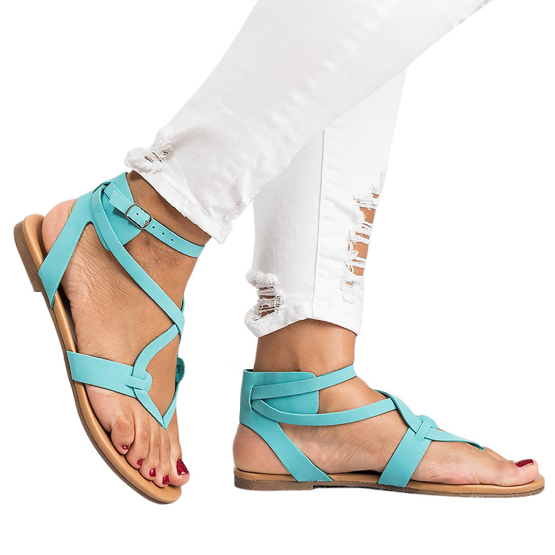 New Arrive Women Sandals Gladiator Summer Women Shoes  Plus Size 35-43 Flats Sandals Shoes For Women Casual Rome Style Sandalias ...