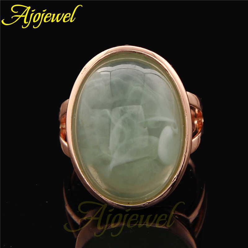ขนาด 6.5-9 Light สีเขียวหินแหวนแฟชั่นผู้หญิงแหวนนิ้วมือ
