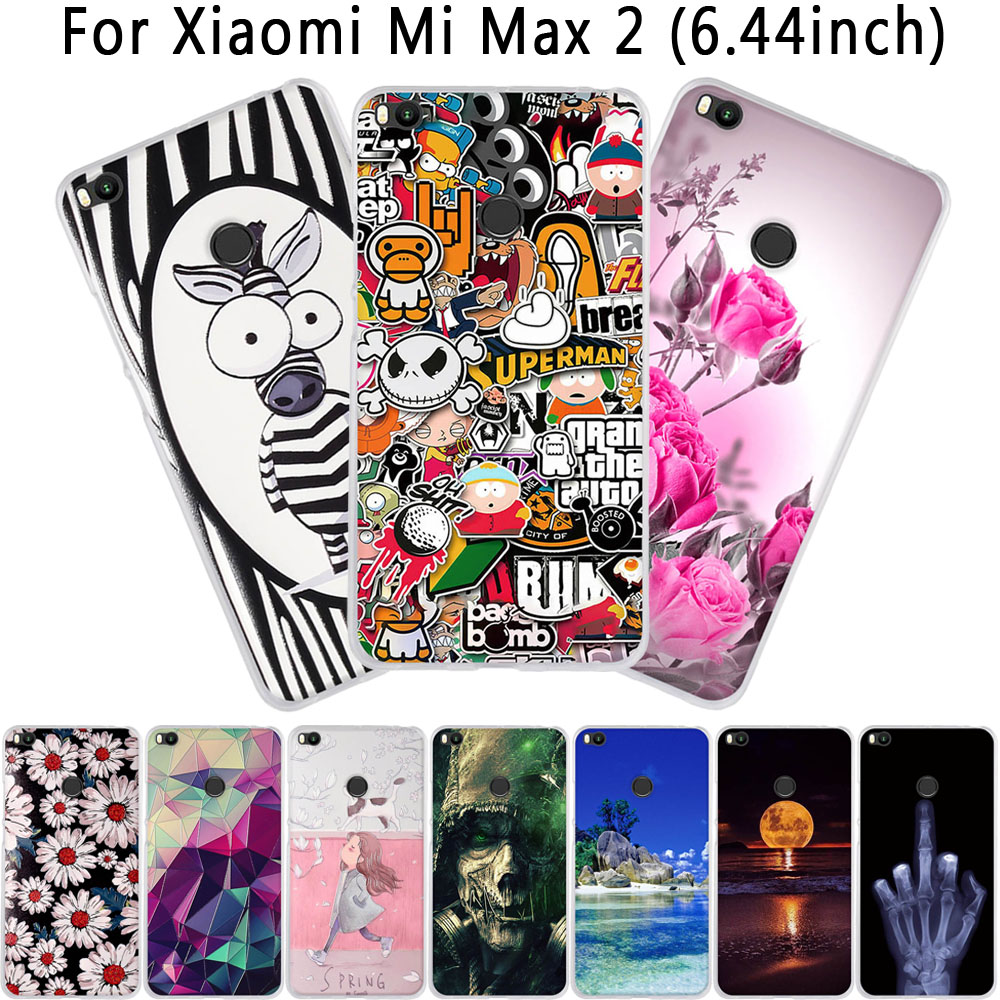 max 2 Cover For xiaomi mi max2 Case Soft Silicone TPU Fundas Coque For xiaomi mi max 2 Phone Cases 3D Cute Flower Bags Shell