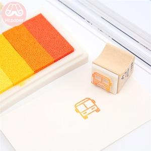 Mr Paper 6 Colors Gradual Change Colorful Short Inkpad Handmade DIY Craft Oil Based Inkpad Rubber Stamps Scrapbooking Inkpad