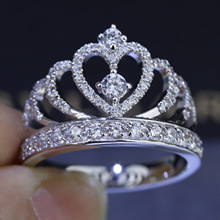 Женщины Корона кольцо Ручной Работы AAAAA циркон 1.5ct cz Стерлингового Серебра 925 Обручальное Кольцо Обручальное Кольцо для женщин Подарок