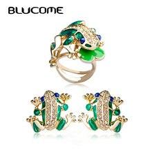 Blucome Moda Sistemas de La Joyería de la Rana Verde Max Brincos Ouro Anel Anéis Joias Del Esmalte Del Corazón Del Perno Pendientes Anillos Set Bijoux