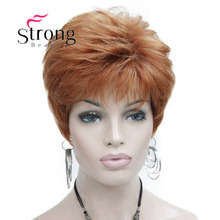 قوي الجمال قصيرة جدا البرتقال براون شقراء عالية مقاومة للحرارة كامل شعر مستعار اصطناعي اللون الخيارات
