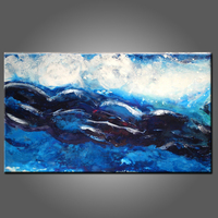 Artist Hand Painted High Quality Abstract Blue Oil Painting For Bathroom And Living Room Decoration Abstract Blue Oil Painting