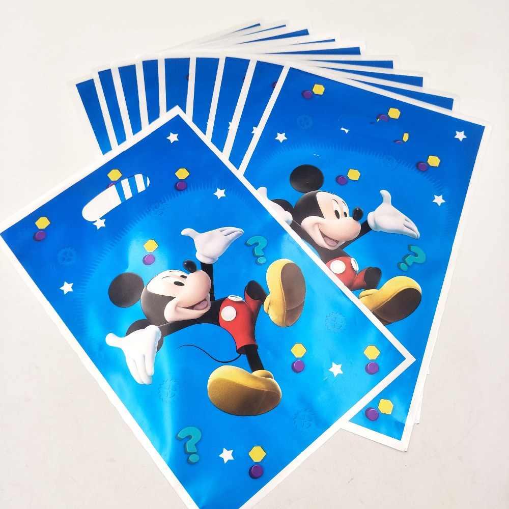 10 Buah/Set Mickey Mouse Perlengkapan Pesta Ulang Tahun Baby Shower Dekorasi Acara Tas Hadiah Pesta Ulang Tahun untuk Anak Perempuan Pesta