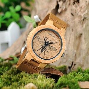 Image 2 - BOBO kuş LP20 erkekler kol saati moda bambu Quartz saat Montre Homme İskelet yusufçuk hayvanlar İzle erkekler