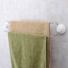 56CM Strong Sucker Wall Mount Chrome Metal Double Towel Bar Towel Rack For Batheroom