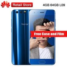 "Huawei Honor 9 STF-L09 4 GB RAM 64 GB ROM 4G LTE 5.15 ""Kirin 960 Octa Core 1920×1080 3 Caméras NFC OTG D'empreintes Digitales Mobile Téléphone"