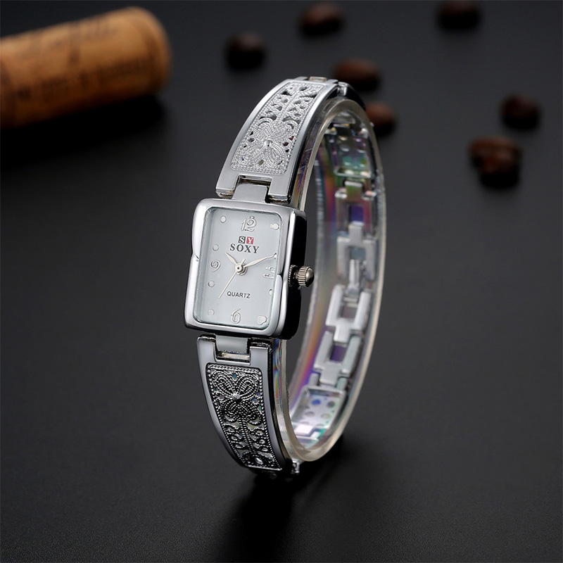 Gold & Silver Color Bracelet Watch Rectangle Dial Carved Patterns Women Watch Casual Time Quartz wristwatch female ladies reloje stylish golden hollow rounded rectangle hasp bracelet for women