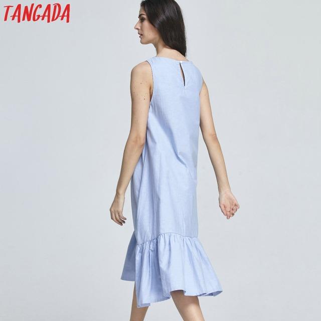 Long Tank Cotton Sleeveless Ruffles Dress