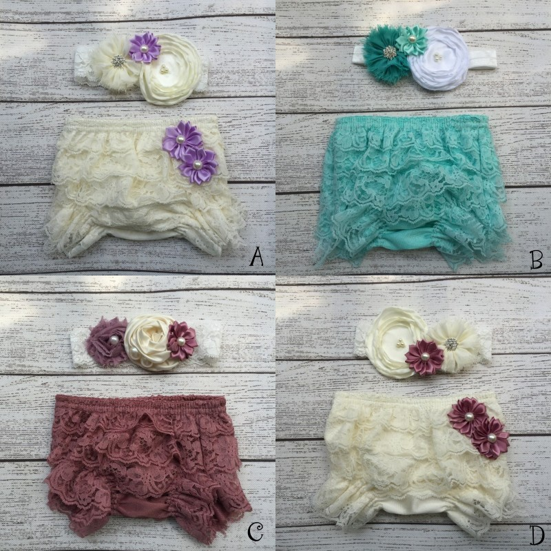 все цены на Baby Lace Ruffle Shorts Matching Baby Headband Baby Girl Diaper Covers Baby Ruffle Bloomer онлайн