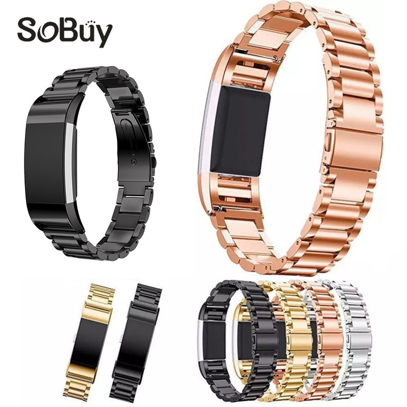 IDG 316L metal Three beads Stainless Steel Watch band For Fitbit Charge 2 bracelet Smart Watch strap for Fitbit Charge2 with december 08 stainless steel bracelet smart watch band strap for fitbit charge 2 supper deal