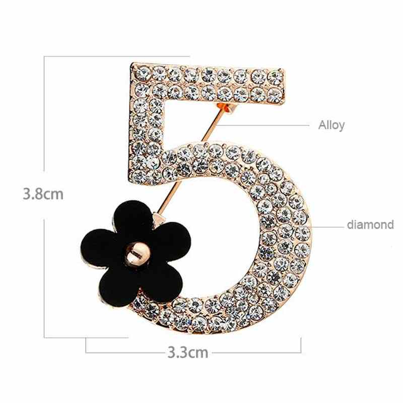 Pieno di strass numero 5 del fiore spilla di Lusso di cerimonia nuziale di modo del partito lettera donna fiore all'occhiello spille regalo
