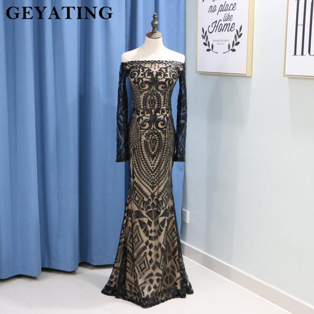 Saudi Arabic Black Sequins Mermaid Evening Dress Long Sleeves Off Shoulder Elegant Women Formal Dress Party Prom Dresses 2019