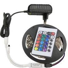 Светодиодная лента 12 В постоянного тока RGB Диодная неоновая лента tira fita светодиодный s 2835 5 м водонепроницаемая гибкая световая гирлянда с адаптером контроллера