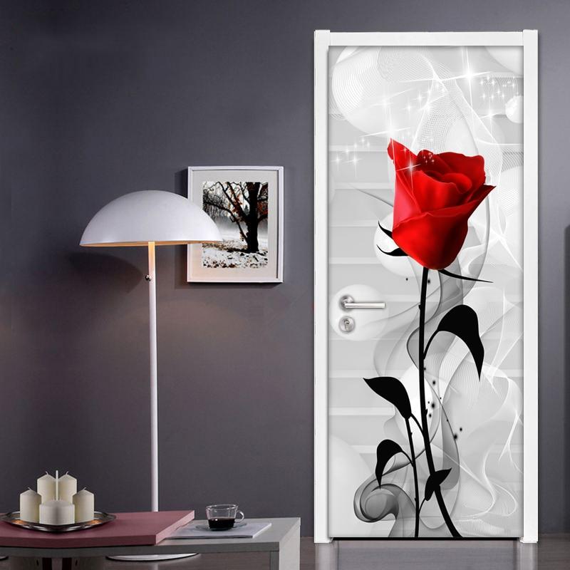 Red Rose Flower Creative DIY Self-adhesive Door Sticker Living Room Bedroom Bathroom Door Decoration PVC Waterproof Wall Mural