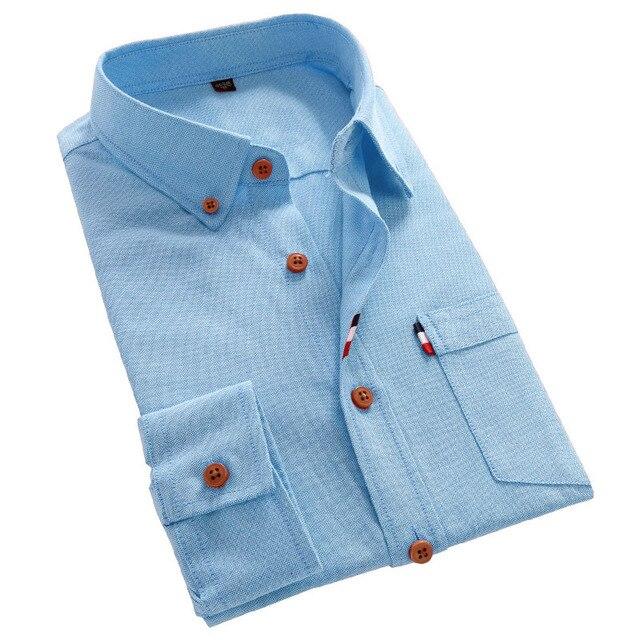 Lujo Slim Fit de Manga Larga Camisas de Vestir de Marca de Moda de Negocios Formal Color Sólido Carreaux Chemise Homme camisa Listrada