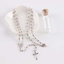 Rosário colar de alta qualidade contas de plástico rosários presente feminino jóias espirituais católico cristão cruz pescoço (10 set/lote)