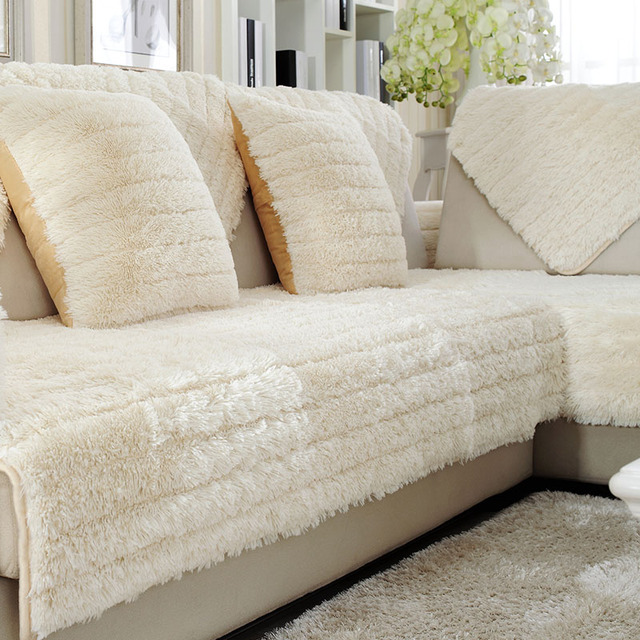 Long Plush Sofa Cushions Antiskid Living Room Autumn And Winter Beige White Pure Color Combination Couch