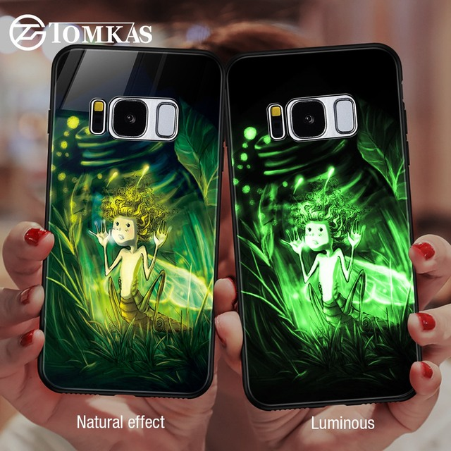TOMKAS Glass Phone Case For Samsung Galaxy S8 S9 Plus Luxury Silicone Edge Back Cover Case For Samsung Galaxy Note 9 S8 Plus