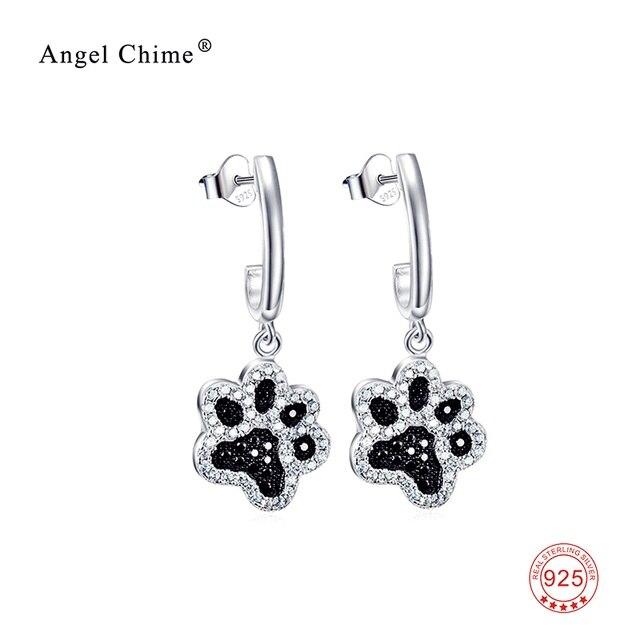 Sweet Black White Crystal Dog Paw Print Earring 925 Sterling Silver Drop Earrings Fashion Jewelry