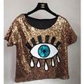 Tops para mujer moda 2016 nuevas blusas del verano de la corto tops de lentejuelas grandes ojos sexy ojos de lentejuelas T-shirt casual envío gratis