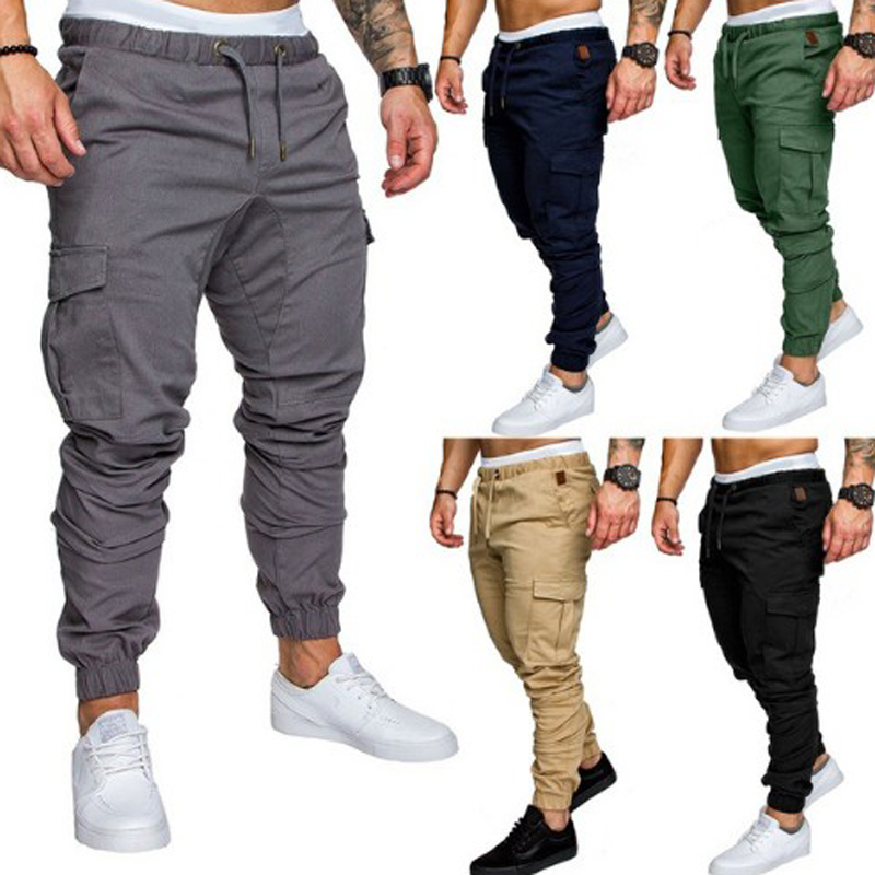 New 2018 Casual Joggers Solid Color Pants Men Cotton Elastic Long Trousers pantalon homme Military Army Cargo Pants Men Leggings(China)