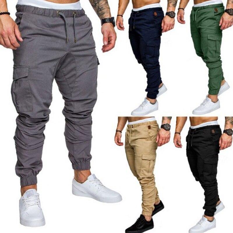 Nouveau 2018 Joggers décontracté couleur unie pantalon hommes coton élastique Long pantalon homme militaire armée Cargo pantalon hommes Leggings