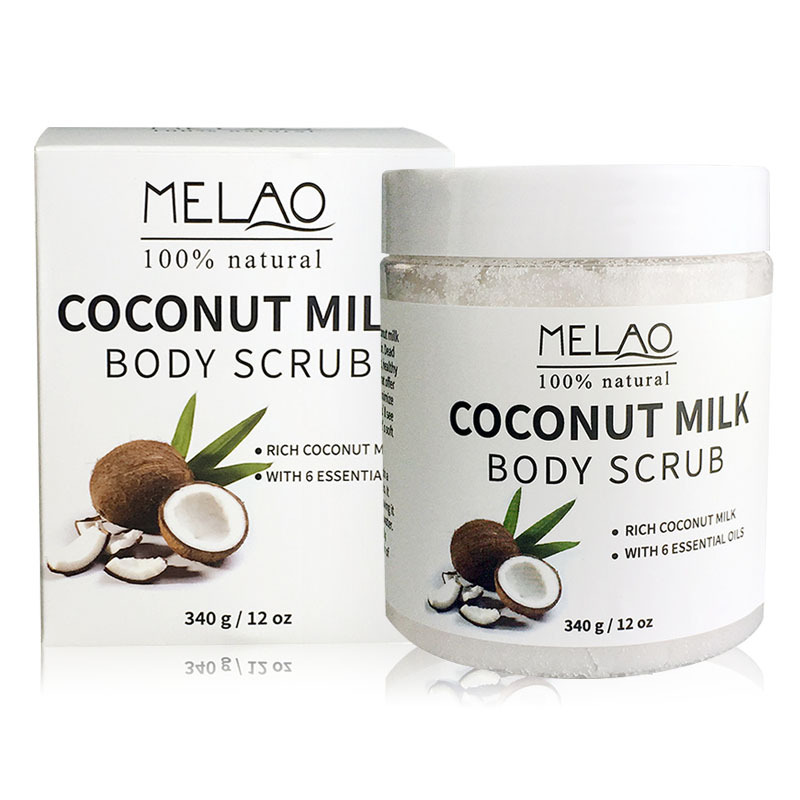 MELAO 340g/12oz 100% Natural Arabica Coconut Milk Body Scrub with Dead Sea Salt, Almond Oil and Vitamin E 1