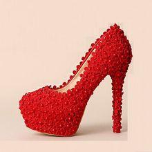 Elegante rote spitze hochzeit schuhe rot farbe lace pumps high heels runde kappe plattform schuhe party hochzeit fersen dünne fersen pumpen