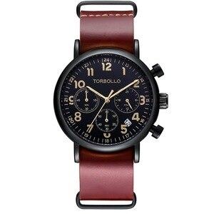 Image 5 - นาฬิกาข้อมือTORBOLLOแบรนด์หรูนาฬิกาทหารผู้ชายนาฬิกาควอตซ์Chronograph 6 มือนาฬิกาหนังผู้ชายนาฬิกาข้อมือกีฬาRelogio Masculino