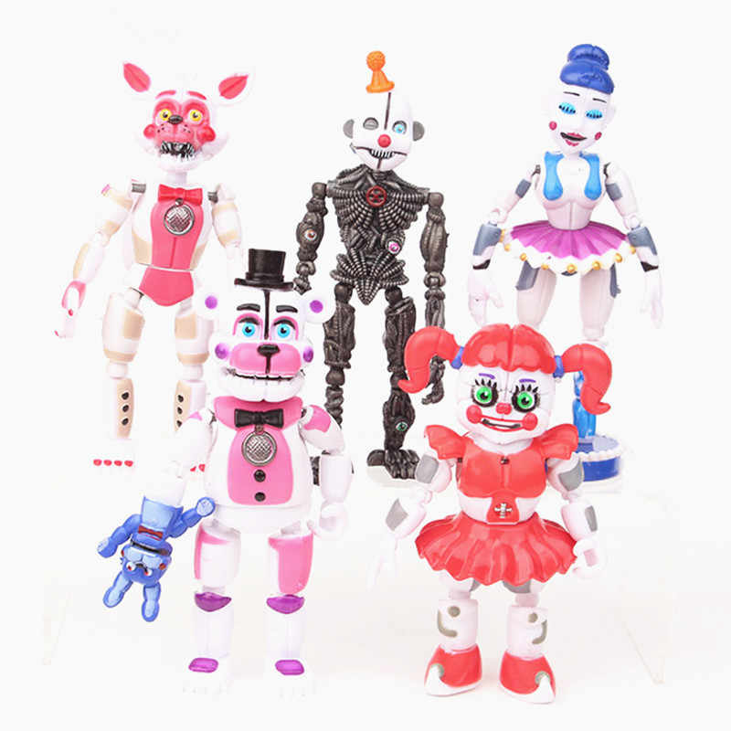 5pcs/set FNAF Five Nights At Freddys Freddy Figure toys Bonnie Foxy Fazbear Bear with light PVC moveable Figures Toy 10-16cm