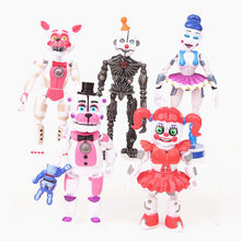 5 pçs/set FNAF Cinco Noites no freddys Figura brinquedos Bonnie Foxy Fazbear Urso Figuras Brinquedo PVC moveable 10-16cm