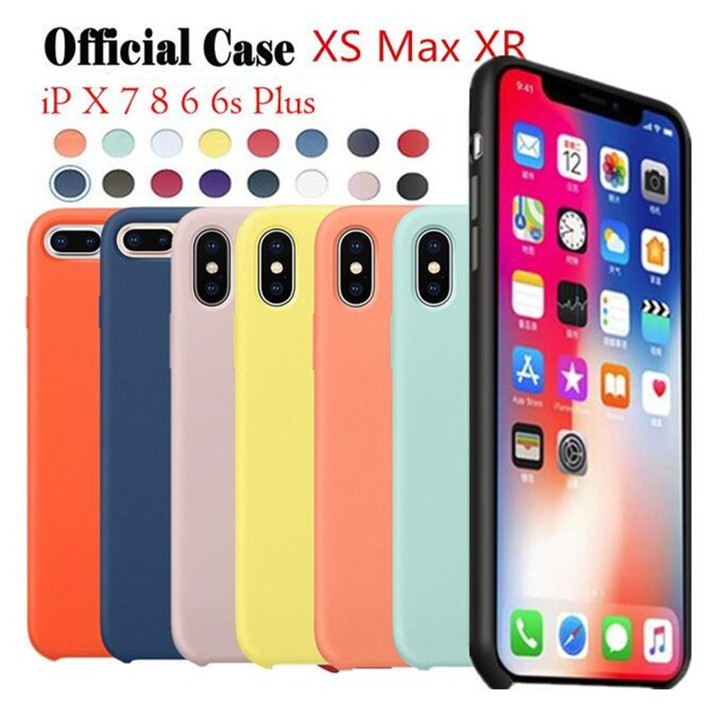 Original Official Silicone Phone Case For Iphone XS MAX XR X Cases For Apple For IPhone 7 8 6 S Plus 5 5S SE Logo Cover Case(China)