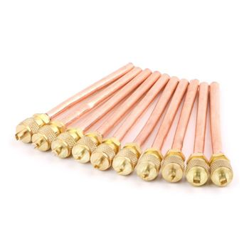 MEXI 10pcs Air Conditioner Refrigeration Access Valves 6mm OD Copper Tube Filling Parts Replacements